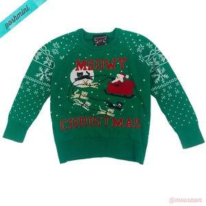 [Well Worn] Green Meowy Christmas Cat Ugly Sweater